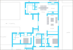 Floor plan of 4 bedroom villa in Santa Gertrudis Ibiza